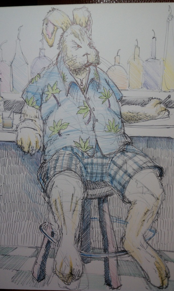 Illustration of the Easter Bunny in the off-season during my exclusive interview with him in a dive bar in the Florida panhandle.  Santa was also there as well as a leprechaun.  Things looked a little dicey for a while there, but I got out without a beating.