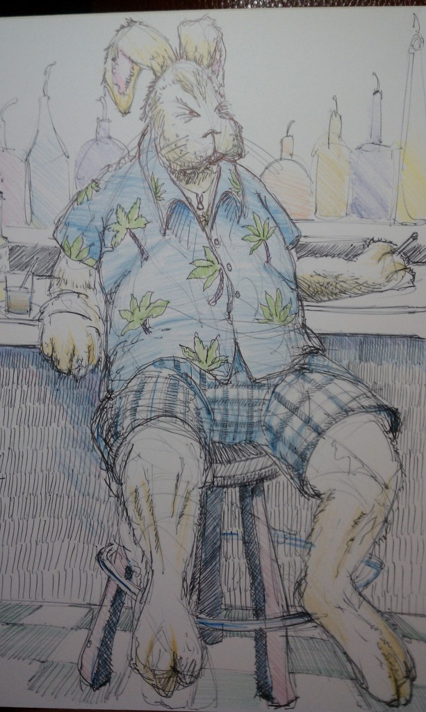 It's almost that time of year, so my old sketch of the Easter Bunny at the bar in the Florida panhandle seems timely enough.  With the bottom third covered by an ad for jerky dispensers, you won't see his deftly drawn feet or more importantly, MY NAME!