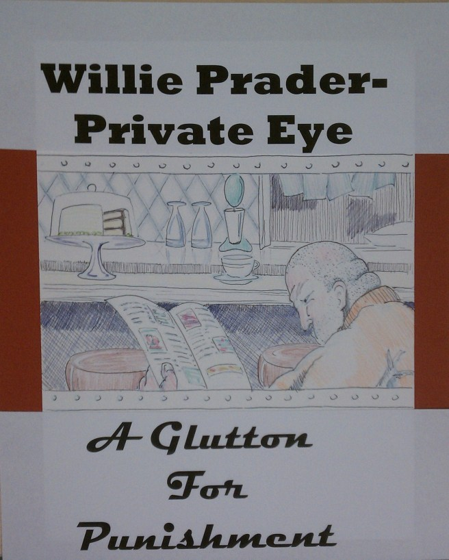Tihs is actually a composite with typeface and the drawing.  You don't get the typeface, just the fat guy in the diner.  For the record, his name is not Willie Prader, it's Mr. Light.  Illustration for the winning gluttony entry in the 7 Deadly Sins contest.  Illustration by the author