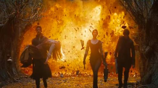 Put your hankies away, this explosion next door pretty much wrecked the dramatic moment.  On the bright side, there was one less witch Hansel and Gretel to worry about.  Thanks for wrecking my movie experience you dopes! (Image from mashable.com)