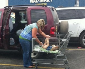 I can't beleive she's doing that!  Doesn't she know how DIRTY those carts are?!?(Image from jokeroo dot com)