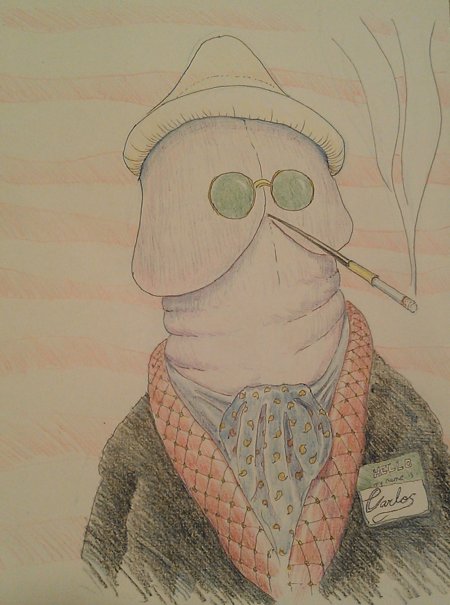 Despite his condom cap and dark glasses, we'd know him anywhere!  (Illustration by the author - no, I'm not proud)
