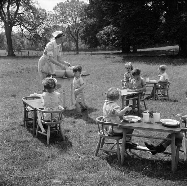 It wasn't bad enough to be segregate the kids in those days, they weren't even fed indoors. (Image from wikimedia commons)