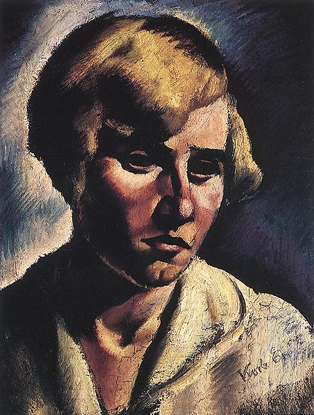 Aunt Hilda in her youth back in the 1920's.  Otto is hidden in the shadows, and possibly devoid of hair in those early years. (Painting by Korb from wikimedia commons)