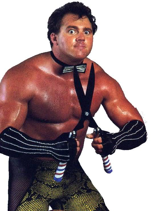 Brutus the Barber Beefcake.  Honey, those stripes are just not working...and those tights!?  You need a make-over!  First, let's put some shoulder pads on you.  (Image from cakechooser dot com)