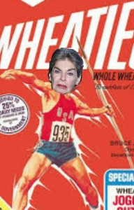 Leona Helmsley as she might have appeared as an Olympic javelin thrower (E-Collage by yours truly)
