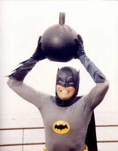 Hey Caped Crusader!  You're gonna have to work that kettle bell more than once every three or four episodes if you wanna get some definition in those arms.  (Image from Reddit dot com)