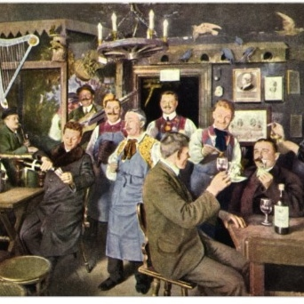 This is either an old fashioned restaurant, or a bunch of craftsmen getting wasted after hours in the cobbler's shop (Image from zazzle dot com)