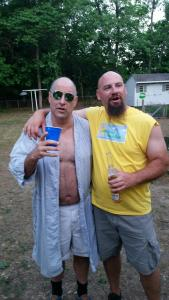 "At first glance, this vignette appeared to have some promise, but it turned out to be from a ""Trailer Park Boys"" themed party.  If you look closely, you'll see that the big lunk on the right is actually holding two beers - what a brute!"