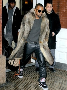 Kanye knows better than to wear leather pants with chinchilla after Labor Day!  (Photo from rapgenius dot com)