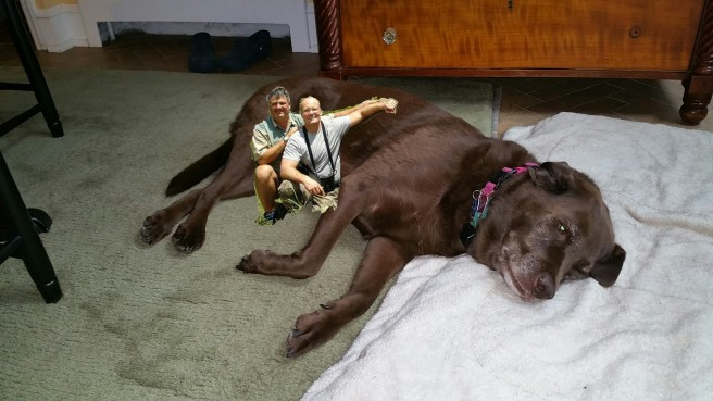 Dr. Palmer posing with the elusive giant chocolate lab he bagged on a recent excursion in the south of Jersey.